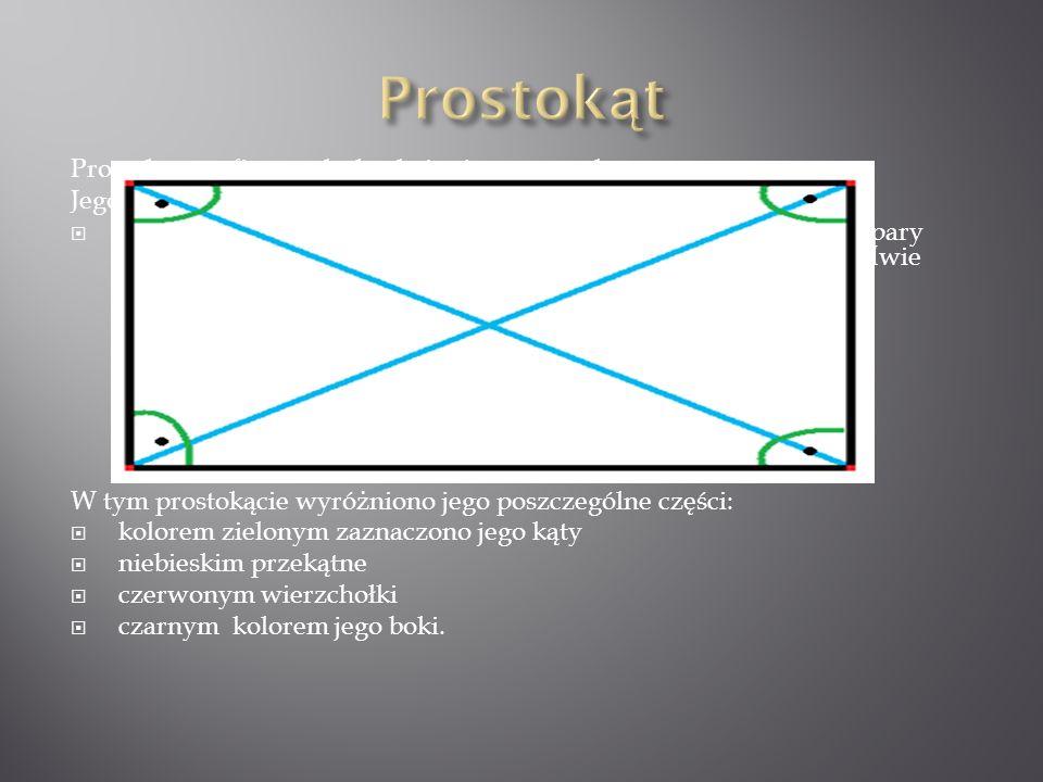 Prostokąt - to figura płaska, która jest czworokątem. Jego własności: ma cztery kąt proste (90 ), cztery wierzchołki, cztery boki, dwie pary boków tej