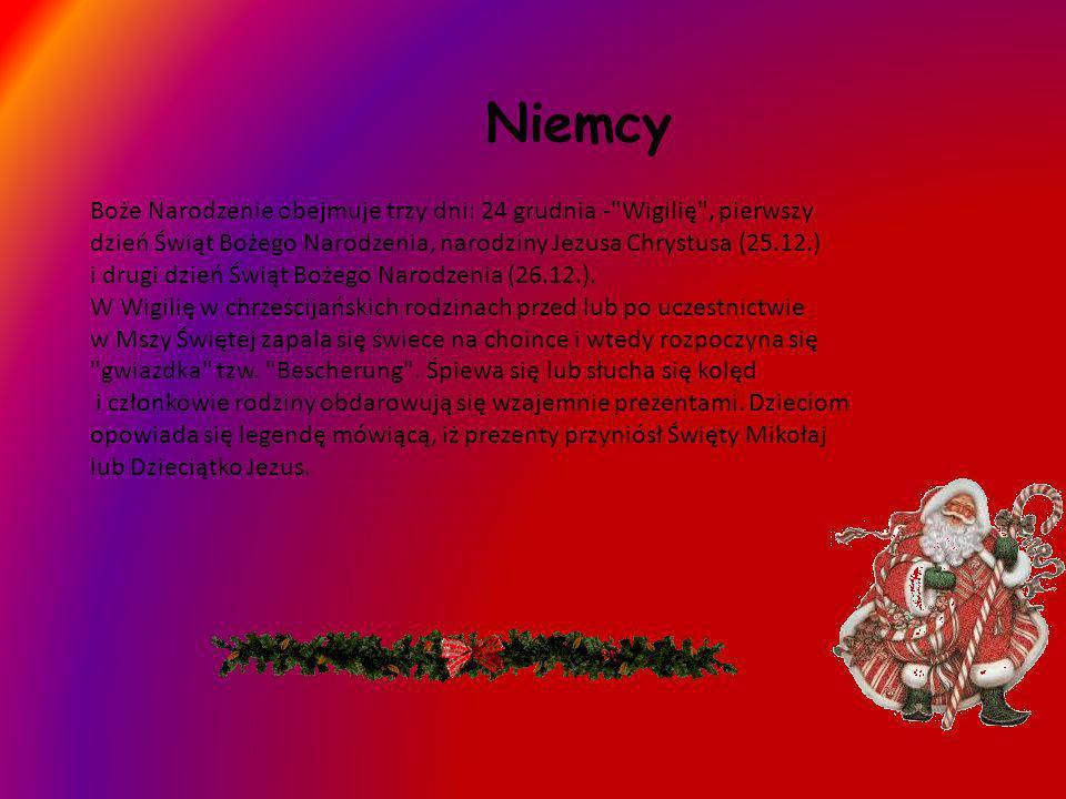 Niemcy Boże Narodzenie obejmuje trzy dni: 24 grudnia -
