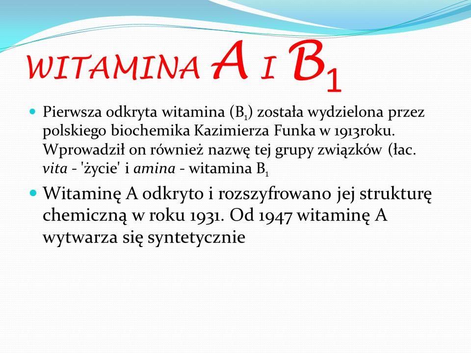 WITAMINA A I B 1 Pierwsza odkryta witamina (B 1 ) została wydzielona przez polskiego biochemika Kazimierza Funka w 1913roku. Wprowadził on również naz