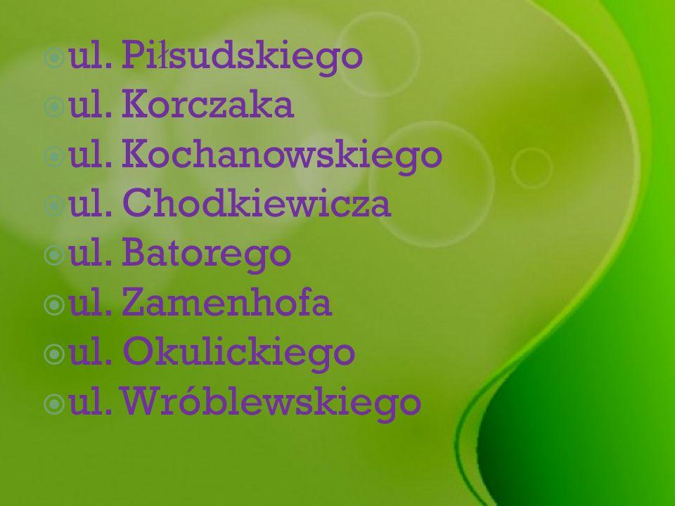ul. Pi ł sudskiego ul. Korczaka ul. Kochanowskiego ul. Chodkiewicza ul. Batorego ul. Zamenhofa ul. Okulickiego ul. Wróblewskiego