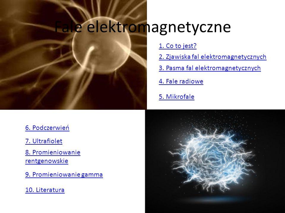 Fale elektromagnetyczne 1. Co to jest? 2. Zjawiska fal elektromagnetycznych 3. Pasma fal elektromagnetycznych 4. Fale radiowe 5. Mikrofale 6. Podczerw