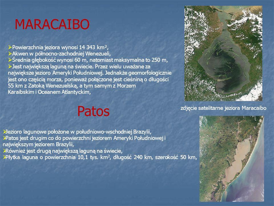 MARACAIBO zdjęcie satelitarne jeziora Maracaibo Powierzchnia jeziora wynosi 14 343 km², Akwen w północno-zachodniej Wenezueli, Średnia głębokość wynos