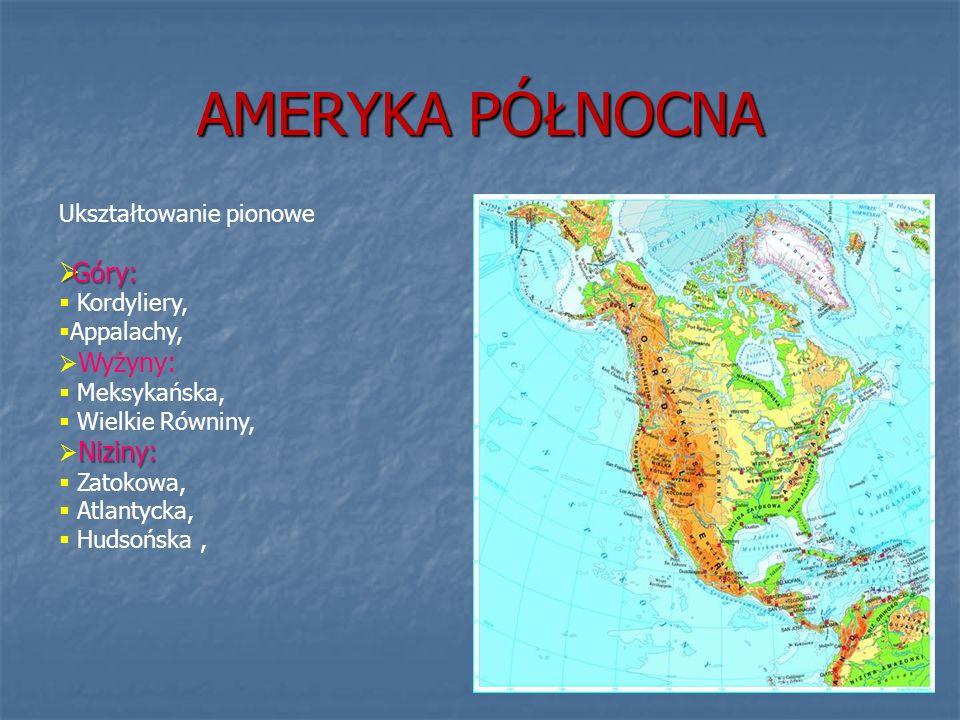 AMERYKA PÓŁNOCNA Ukształtowanie pionowe Góry: Góry: Kordyliery, Appalachy, Wyżyny: Meksykańska, Wielkie Równiny, Niziny: Zatokowa, Atlantycka, Hudsońs