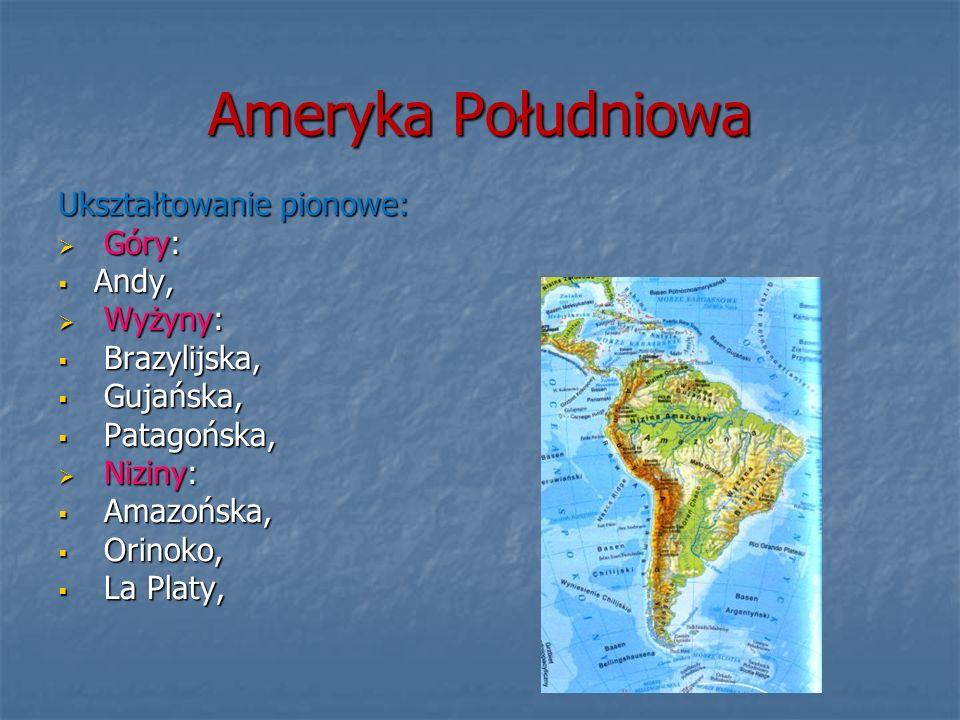 Ameryka Południowa Ukształtowanie pionowe: Góry: Góry: Andy, Andy, Wyżyny: Wyżyny: Brazylijska, Brazylijska, Gujańska, Gujańska, Patagońska, Patagońsk