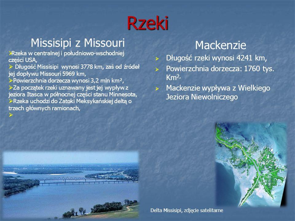 Rzeki Mackenzie Długość rzeki wynosi 4241 km, Powierzchnia dorzecza: 1760 tys. Km 2, Mackenzie wypływa z Wielkiego Jeziora Niewolniczego Missisipi z M