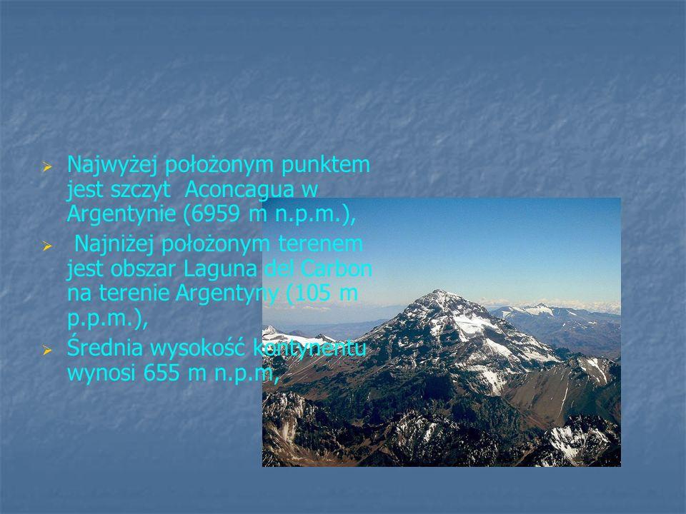 Najwyżej położonym punktem jest szczyt Aconcagua w Argentynie (6959 m n.p.m.), Najniżej położonym terenem jest obszar Laguna del Carbon na terenie Arg
