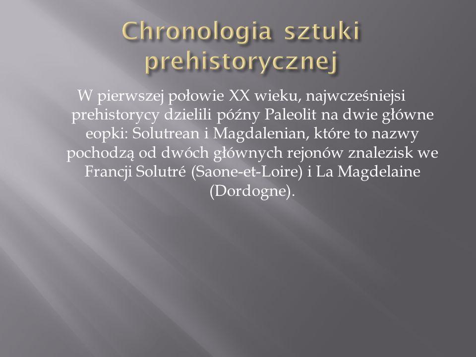 W pierwszej połowie XX wieku, najwcześniejsi prehistorycy dzielili późny Paleolit na dwie główne eopki: Solutrean i Magdalenian, które to nazwy pochod