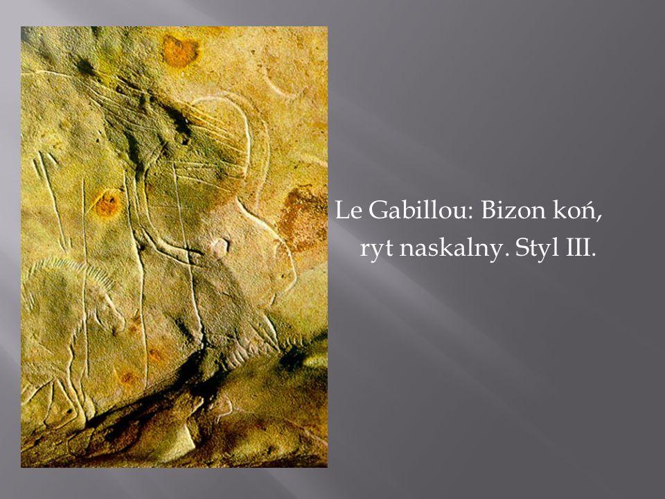 Le Gabillou: Bizon koń, ryt naskalny. Styl III.