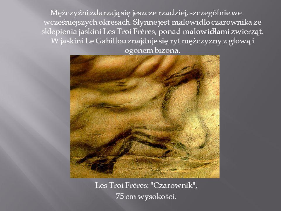 Mężczyźni zdarzają się jeszcze rzadziej, szczególnie we wcześniejszych okresach. Słynne jest malowidło czarownika ze sklepienia jaskini Les Troi Frère