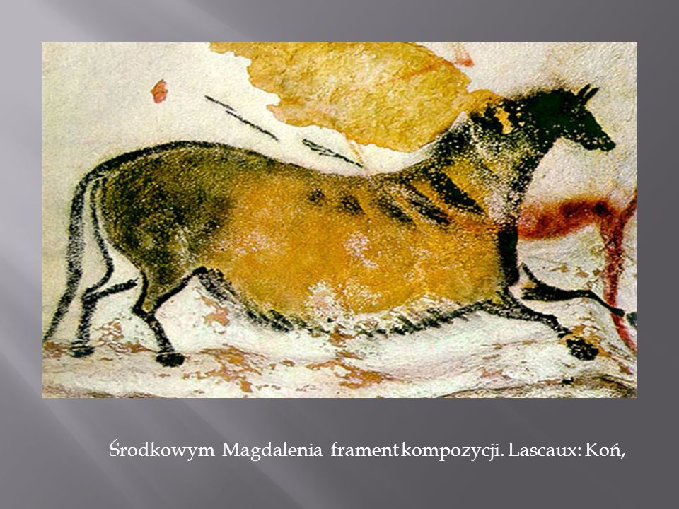 Środkowym Magdalenia frament kompozycji. Lascaux: Koń,