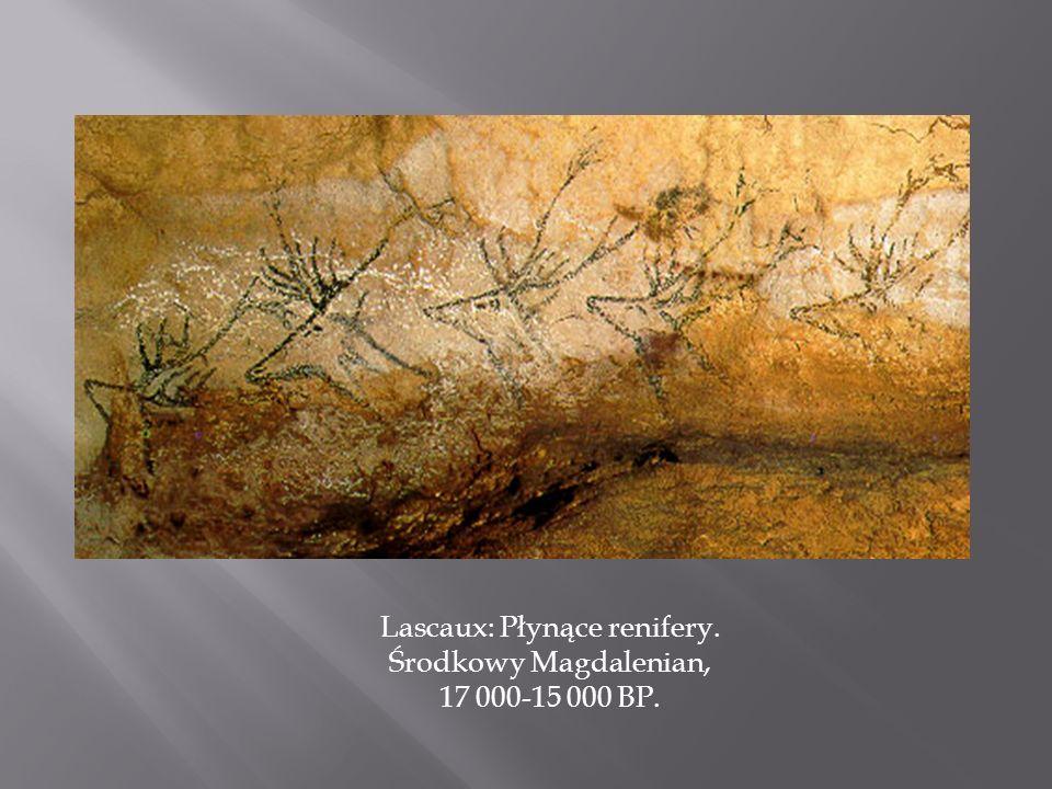 Lascaux: Płynące renifery. Środkowy Magdalenian, 17 000-15 000 BP.