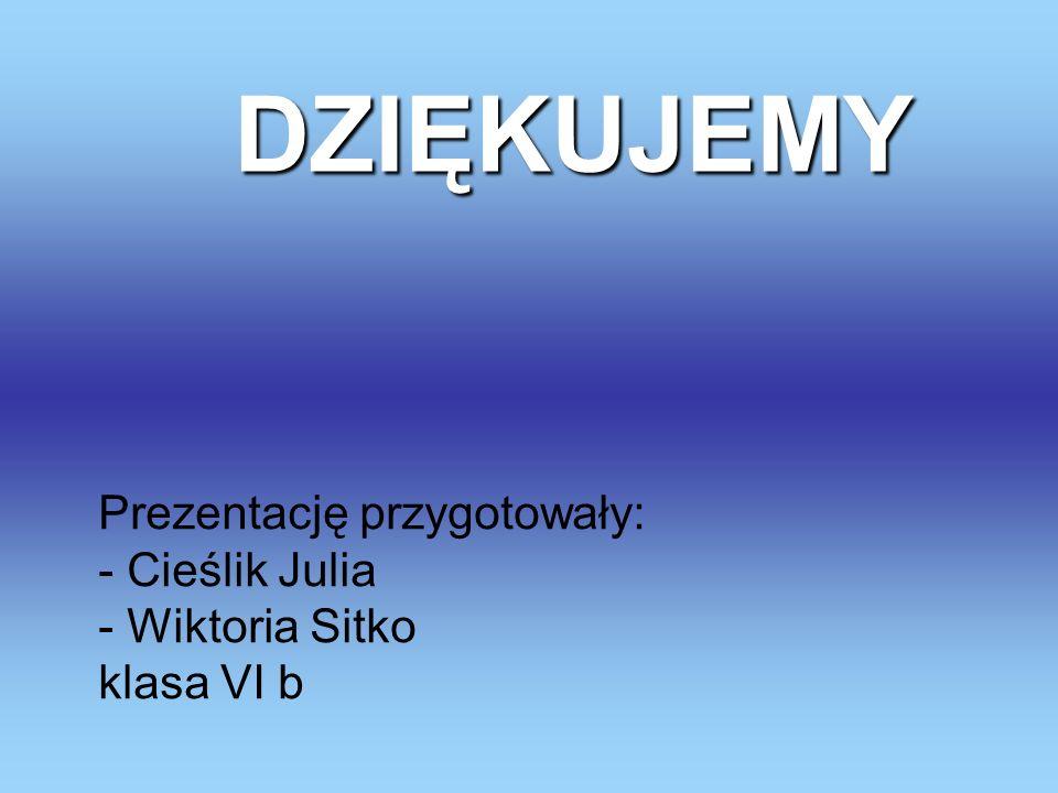 Prezentację przygotowały: - Cieślik Julia - Wiktoria Sitko klasa VI b DZIĘKUJEMY DZIĘKUJEMY