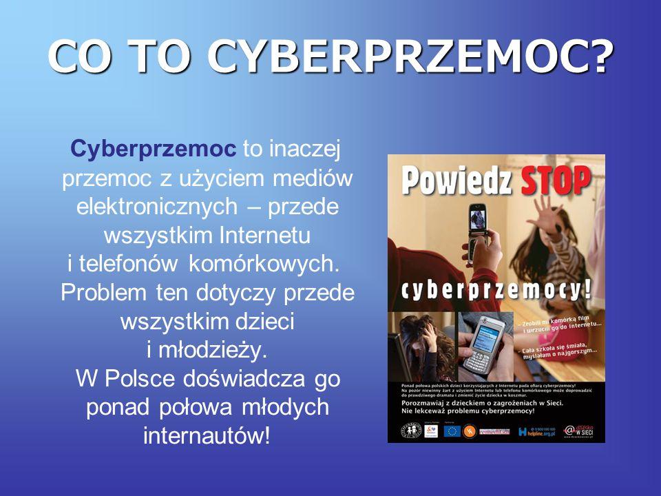DZIAŁANIA CYBERPRZEMOCY Do działań określanych jako cyberprzemoc zalicza się m.in.: