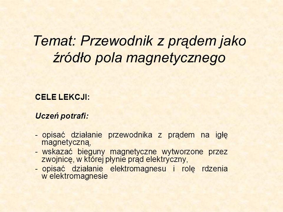 Temat: Przewodnik z prądem jako źródło pola magnetycznego CELE LEKCJI: Uczeń potrafi: - opisać działanie przewodnika z prądem na igłę magnetyczną, - w