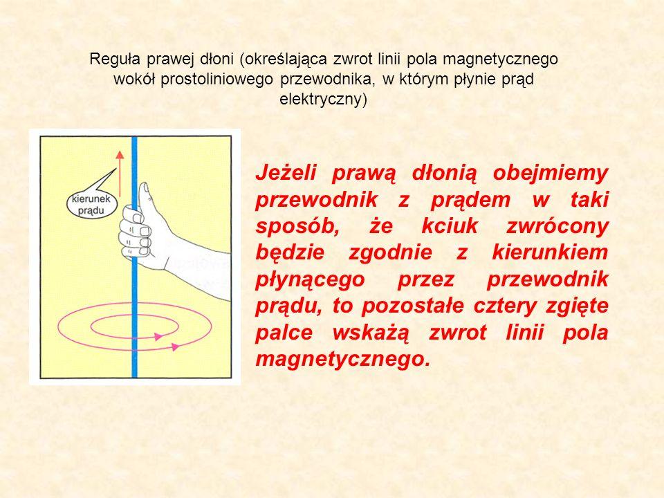 Reguła prawej dłoni (określająca zwrot linii pola magnetycznego wokół prostoliniowego przewodnika, w którym płynie prąd elektryczny) Jeżeli prawą dłon