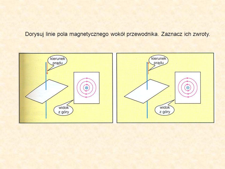 Dorysuj linie pola magnetycznego wokół przewodnika. Zaznacz ich zwroty.