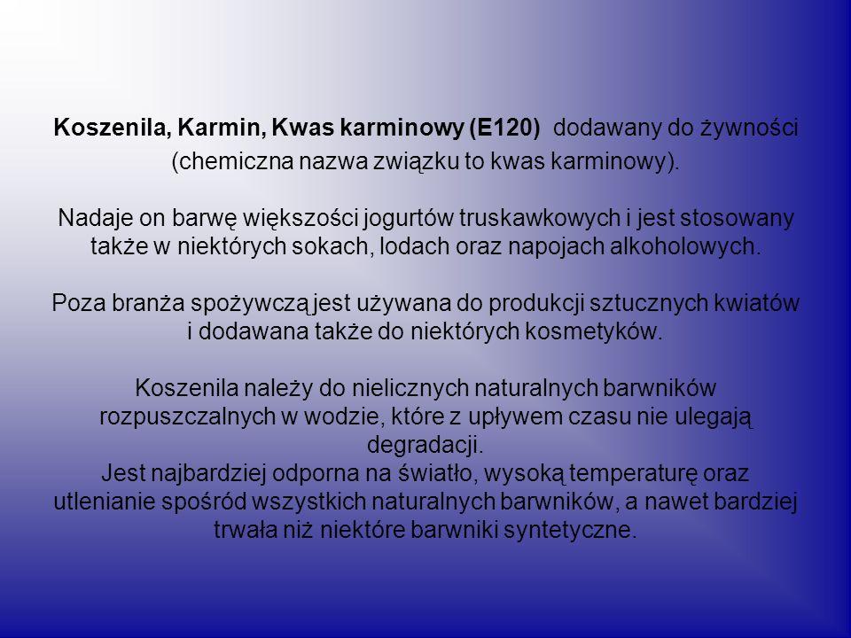 Koszenila, Karmin, Kwas karminowy (E120) dodawany do żywności (chemiczna nazwa związku to kwas karminowy). Nadaje on barwę większości jogurtów truskaw
