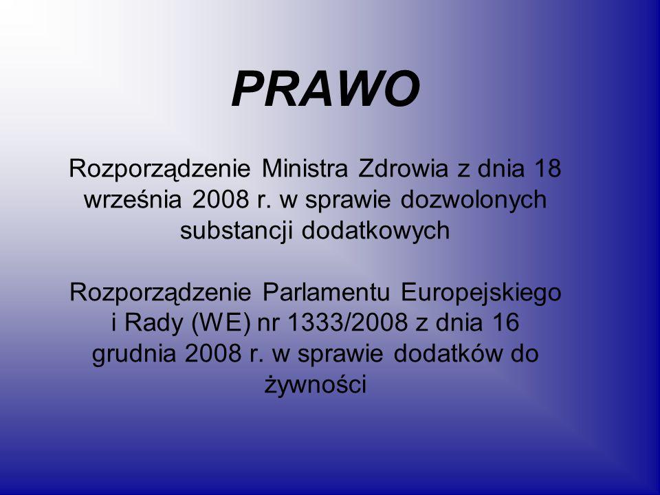 Barwniki dozwolone do stosowania w żywności w Polsce 1.E100-kurkumina 2.E101-ryboflawina, 5-fosforan ryboflawiny 3.E102-tartrazyna 4.E104-żółcień chinolinowa 5.E110-żółcień pomarańczowa FCF, żółcień pomarańczowa S 6.E120-koszenila, kwas karminowy, karminy 7.E122-azorubina, karmoizyna 8.E123-amarant 9.E124-czerwień koszenilowa A, pąs 4R 10.E127-erytrozyna 11.E129-czerwień Allura AC 12.E131-błekit patentowy V 13.E132-indygotyna, indygokarmin 14.E133-błekit brylantowy FCF 15.E140-chlorofile i chlorofiliny 16.E141-kompleksy miedziowe chlorofili i chlorofilin 17.E142-zieleń S 18.E150a-karmel 19.E150b-karmel siarczynowy 20.E150c-karmel amoniakalny 21.E150d-karmel amoniakalno-siarczynowy 22.E151-czerń brylantowa BN 23.E153-węgiel roślinny 24.E154-brąz FK 25.E155-brąz HT 26.E160a-karoteny 27.E160b-annato, biksyna, norbiksyna 28.E160c-ekstrakt z papryki, kapsantyna, kapsorubina 29.E160d-likopen 30.E160e-beta-apo-8-karotenal (C30) 31.E160f-ester etylowy kwasu beta-apo-8- karotenowego (C30) 32.E161b-luteina 33.E161g-kantaksantyna 34.E162-czerwień buraczana, betanina 35.E163-antocyjany 36.E170-węglan wapnia 37.E171-dwutlenek tytanu 38.E172-tlenki żelaza i wodorotlenki żelaza 39.E173-glin 40.E174-srebro 41.E175-złoto 42.E180-czerwień litolowa BK