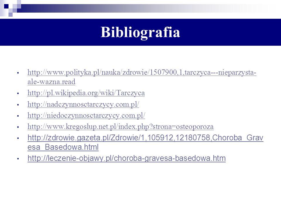 Bibliografia http://www.polityka.pl/nauka/zdrowie/1507900,1,tarczyca---nieparzysta- ale-wazna.read http://www.polityka.pl/nauka/zdrowie/1507900,1,tarc