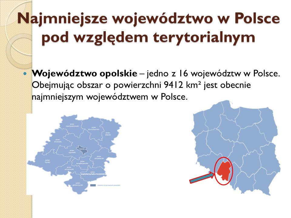 Najmniejsze województwo w Polsce pod względem terytorialnym Województwo opolskie – jedno z 16 województw w Polsce. Obejmując obszar o powierzchni 9412