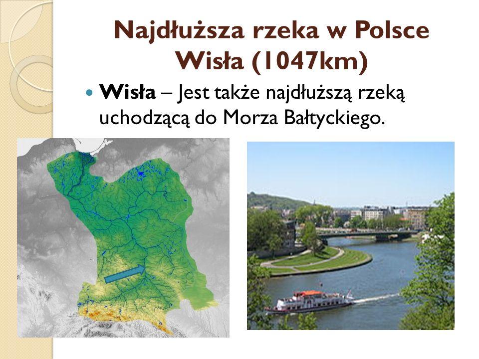 Najdłuższa rzeka w Polsce Wisła (1047km) Wisła – Jest także najdłuższą rzeką uchodzącą do Morza Bałtyckiego.