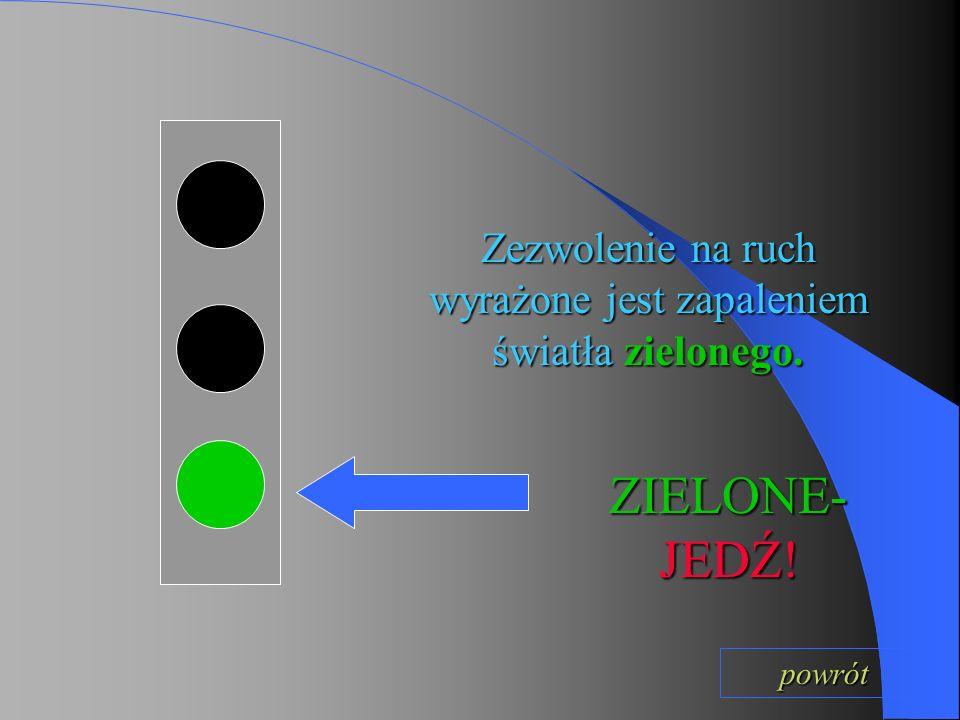 Pomiędzy światłem zielonym a czerwonym jest światło żółte.Nie wolno wtedy wjeżdżać na skrzyżowanie.Światło to oznacza, że za chwilę zapali się światło