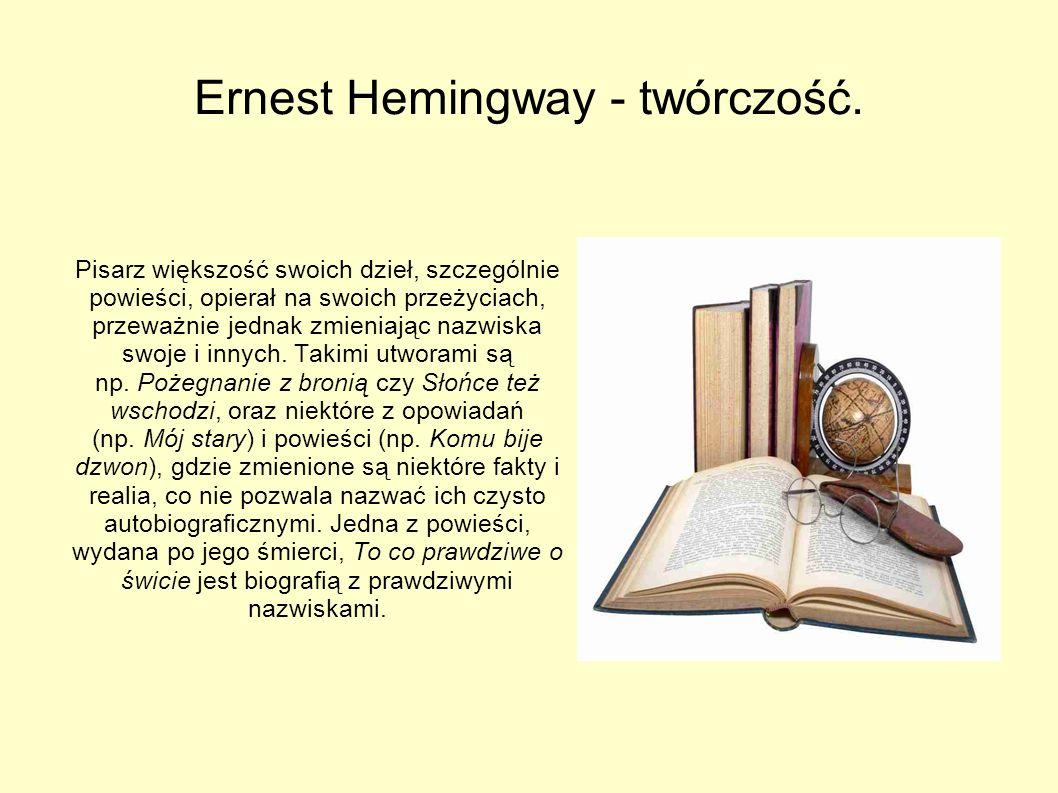 Ernest Hemingway - emigracja. Powrócił do Ameryki w 1920 i zaczął pracować dla gazety Toronto Star jako dziennikarz i korespondent zagraniczny. Tam po