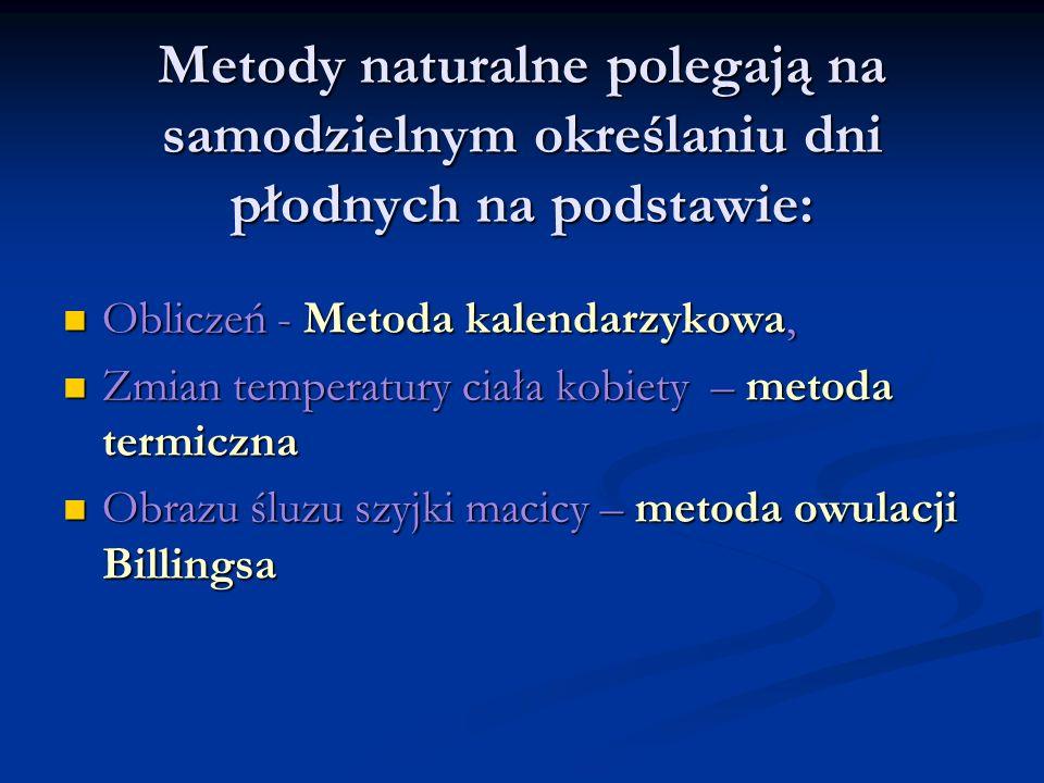Metody naturalne polegają na samodzielnym określaniu dni płodnych na podstawie: Obliczeń - Metoda kalendarzykowa, Obliczeń - Metoda kalendarzykowa, Zm