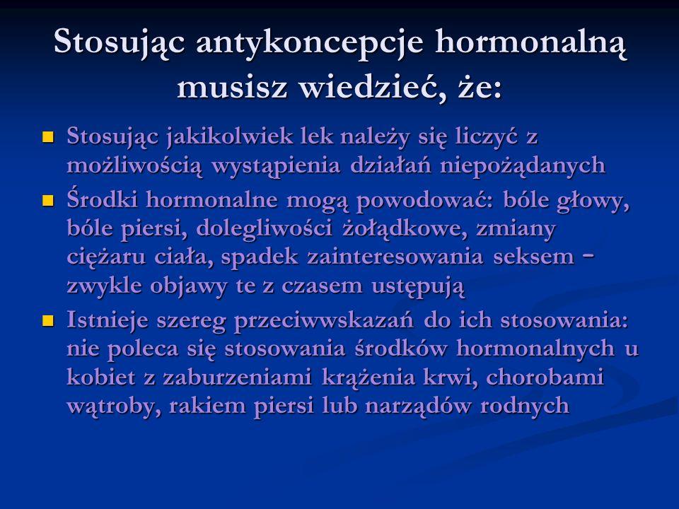 Stosując antykoncepcje hormonalną musisz wiedzieć, że: Stosując jakikolwiek lek należy się liczyć z możliwością wystąpienia działań niepożądanych Stos