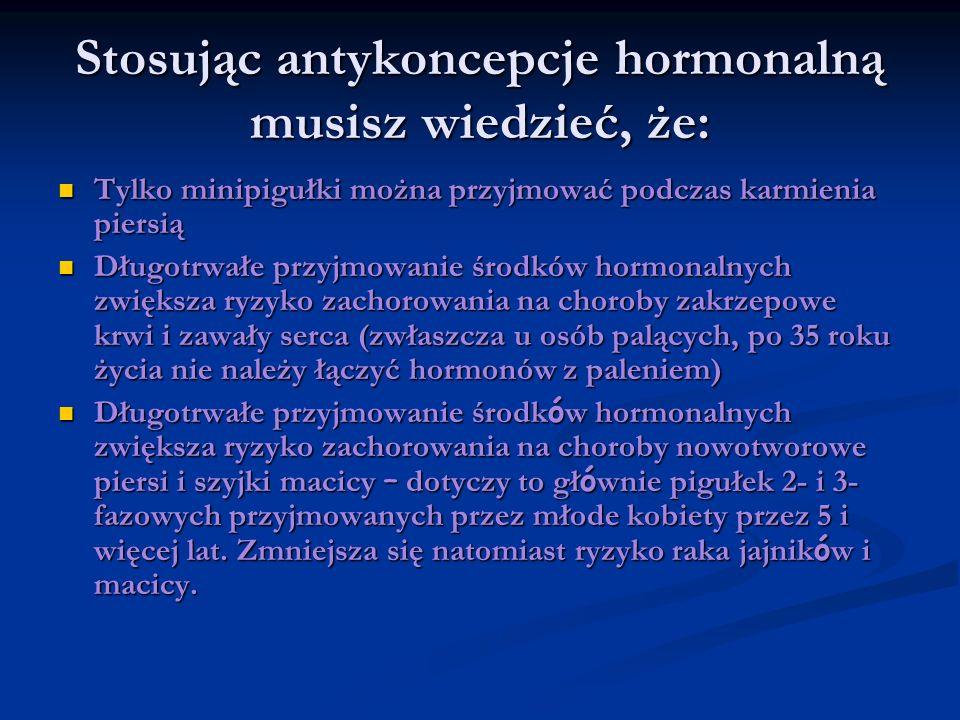 Stosując antykoncepcje hormonalną musisz wiedzieć, że: Tylko minipigułki można przyjmować podczas karmienia piersią Tylko minipigułki można przyjmować