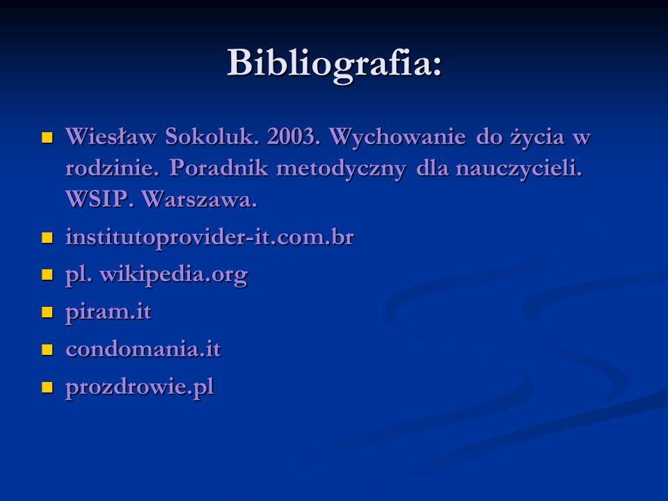 Bibliografia: Wiesław Sokoluk. 2003. Wychowanie do życia w rodzinie. Poradnik metodyczny dla nauczycieli. WSIP. Warszawa. Wiesław Sokoluk. 2003. Wycho