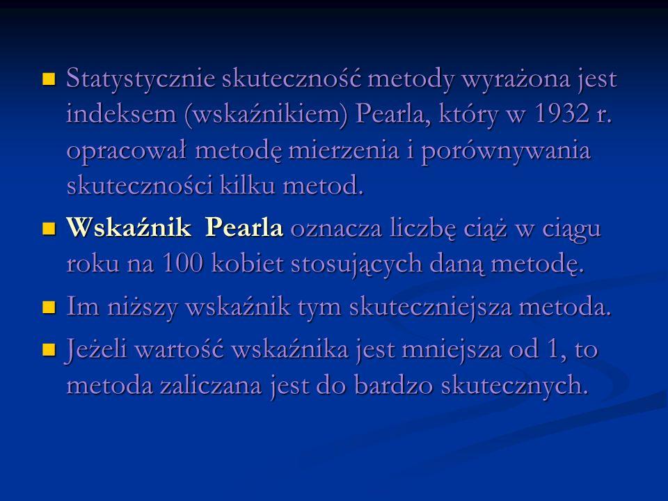 Statystycznie skuteczność metody wyrażona jest indeksem (wskaźnikiem) Pearla, który w 1932 r. opracował metodę mierzenia i porównywania skuteczności k