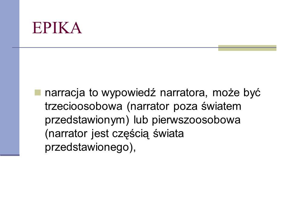 EPIKA narracja to wypowiedź narratora, może być trzecioosobowa (narrator poza światem przedstawionym) lub pierwszoosobowa (narrator jest częścią świat
