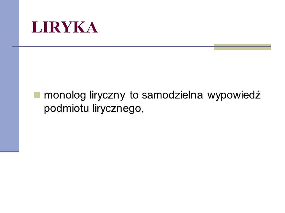 LIRYKA monolog liryczny to samodzielna wypowiedź podmiotu lirycznego,