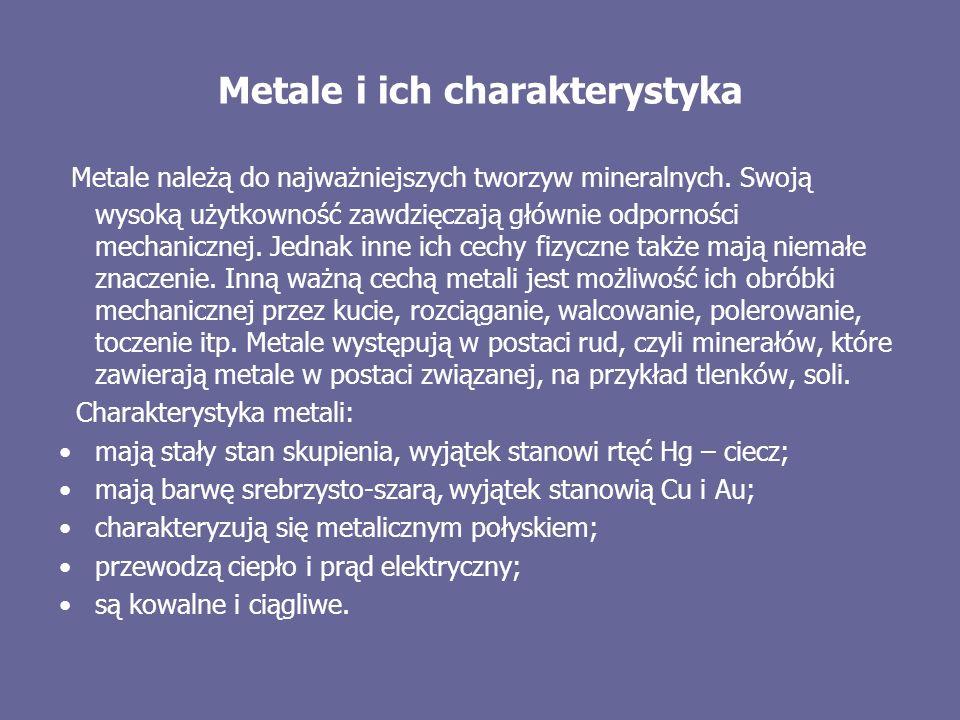 Metale i ich charakterystyka Metale należą do najważniejszych tworzyw mineralnych. Swoją wysoką użytkowność zawdzięczają głównie odporności mechaniczn