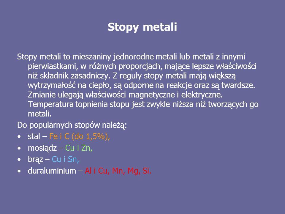 Stopy metali Stopy metali to mieszaniny jednorodne metali lub metali z innymi pierwiastkami, w różnych proporcjach, mające lepsze właściwości niż skła