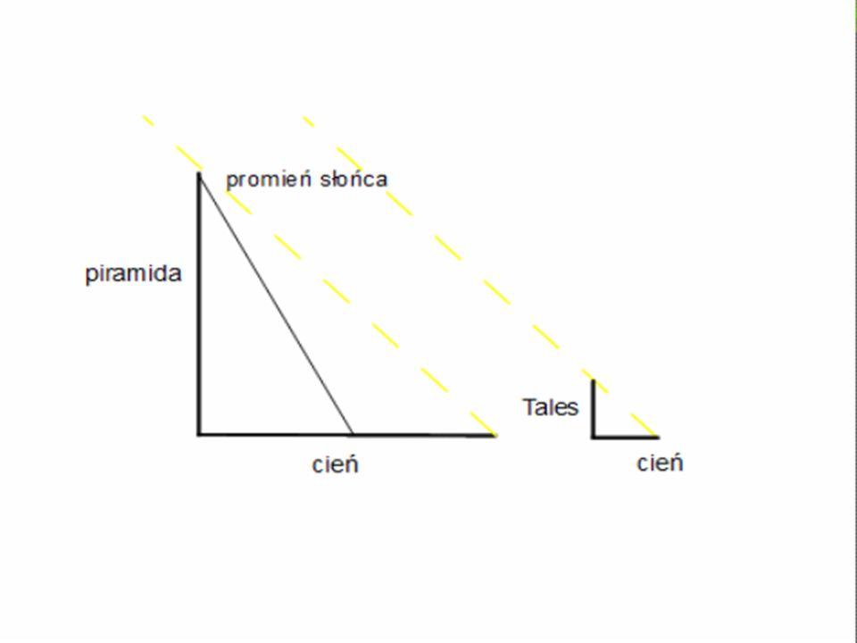 Tales, by zmierzyć piramidę musiał pozbawić piramidę jej ciała, zapomnieć o masie budowli, wymazać ją i pamiętać o niej tylko wtedy, kiedy miała związek z postawionym pytaniem.