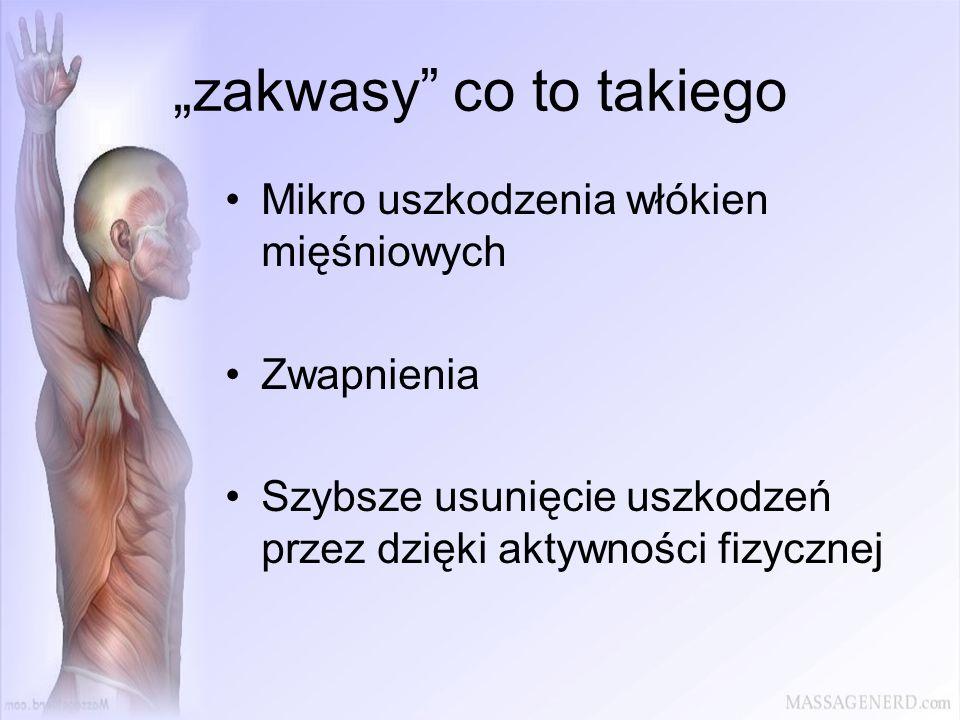 zakwasy co to takiego Mikro uszkodzenia włókien mięśniowych Zwapnienia Szybsze usunięcie uszkodzeń przez dzięki aktywności fizycznej