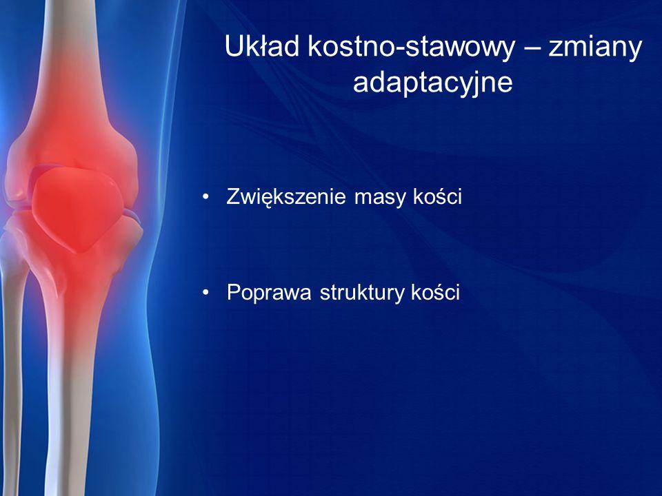 Układ kostno-stawowy – zmiany adaptacyjne Zwiększenie masy kości Poprawa struktury kości