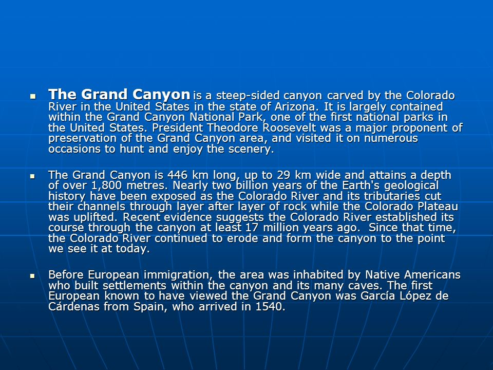 The Grand Canyon is a steep-sided canyon carved by the Colorado River in the United States in the state of Arizona.