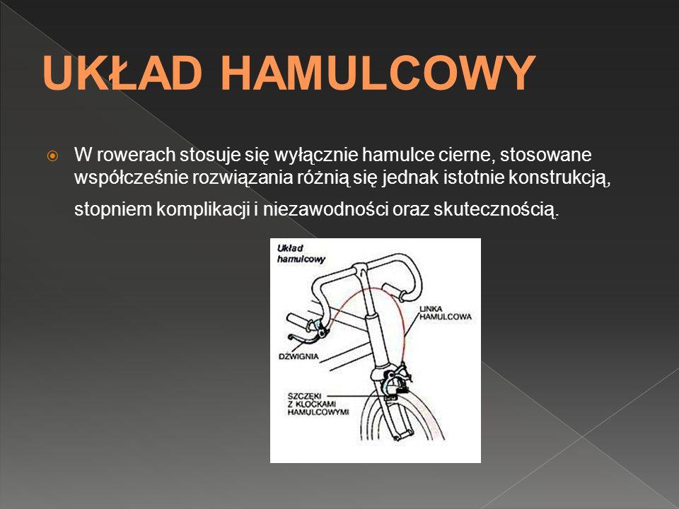 W rowerach stosuje się wyłącznie hamulce cierne, stosowane współcześnie rozwiązania różnią się jednak istotnie konstrukcją, stopniem komplikacji i nie