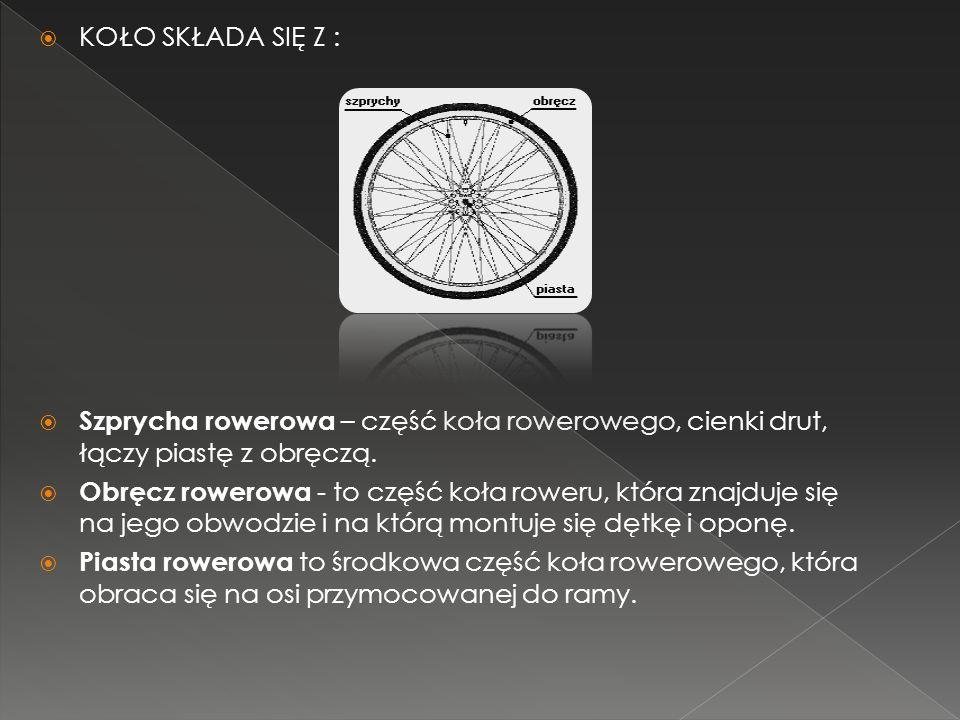 KOŁO SKŁADA SIĘ Z : Szprycha rowerowa – część koła rowerowego, cienki drut, łączy piastę z obręczą. Obręcz rowerowa - to część koła roweru, która znaj