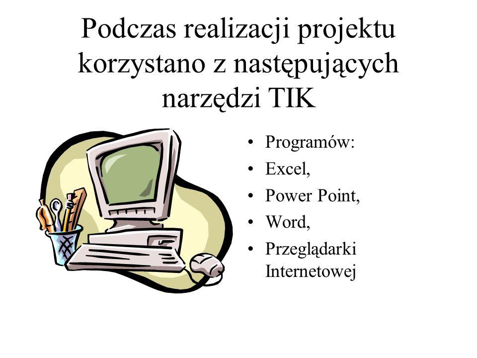 Podczas realizacji projektu korzystano z następujących narzędzi TIK Programów: Excel, Power Point, Word, Przeglądarki Internetowej