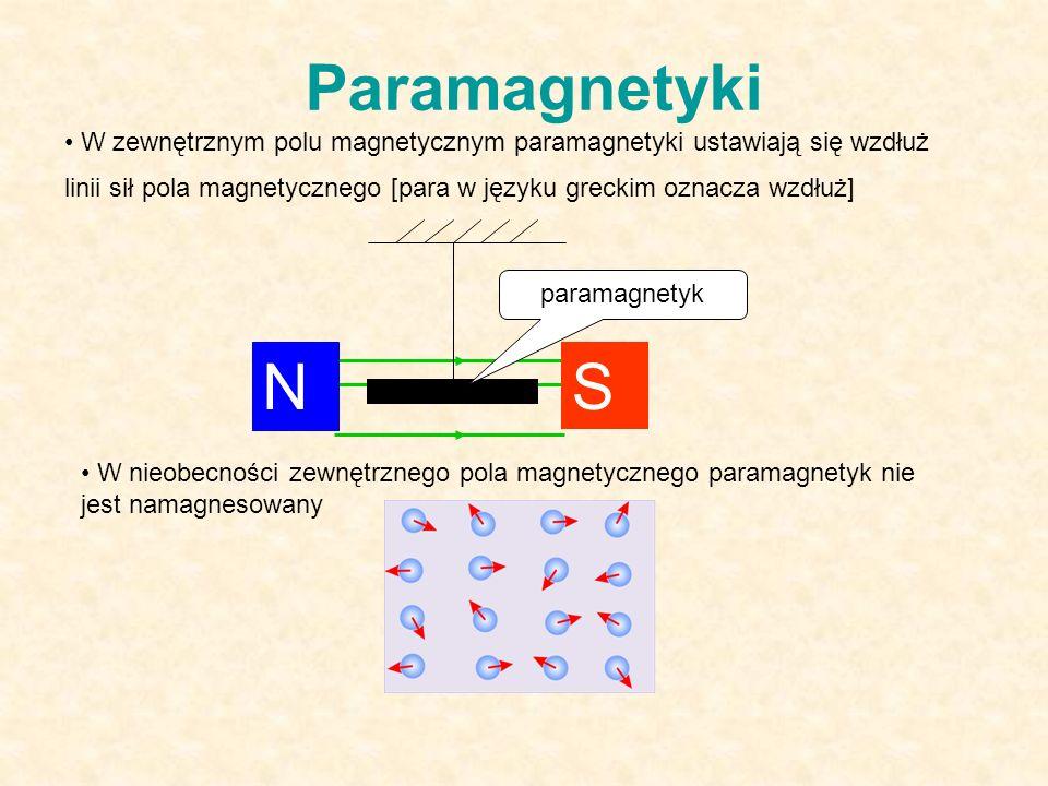 Paramagnetyki W zewnętrznym polu magnetycznym paramagnetyki ustawiają się wzdłuż linii sił pola magnetycznego [para w języku greckim oznacza wzdłuż] N S paramagnetyk W nieobecności zewnętrznego pola magnetycznego paramagnetyk nie jest namagnesowany