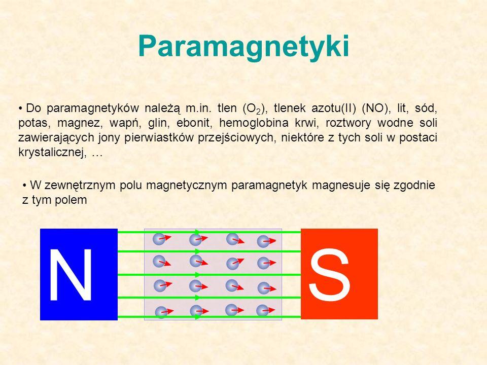 Paramagnetyki Do paramagnetyków należą m.in.
