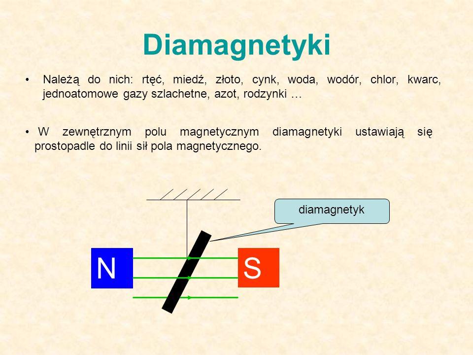 Diamagnetyki Należą do nich: rtęć, miedź, złoto, cynk, woda, wodór, chlor, kwarc, jednoatomowe gazy szlachetne, azot, rodzynki … N S diamagnetyk W zewnętrznym polu magnetycznym diamagnetyki ustawiają się prostopadle do linii sił pola magnetycznego.