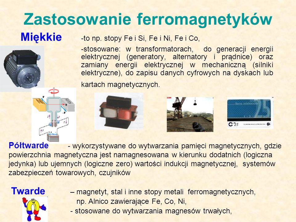 Zastosowanie ferromagnetyków Miękkie -to np.