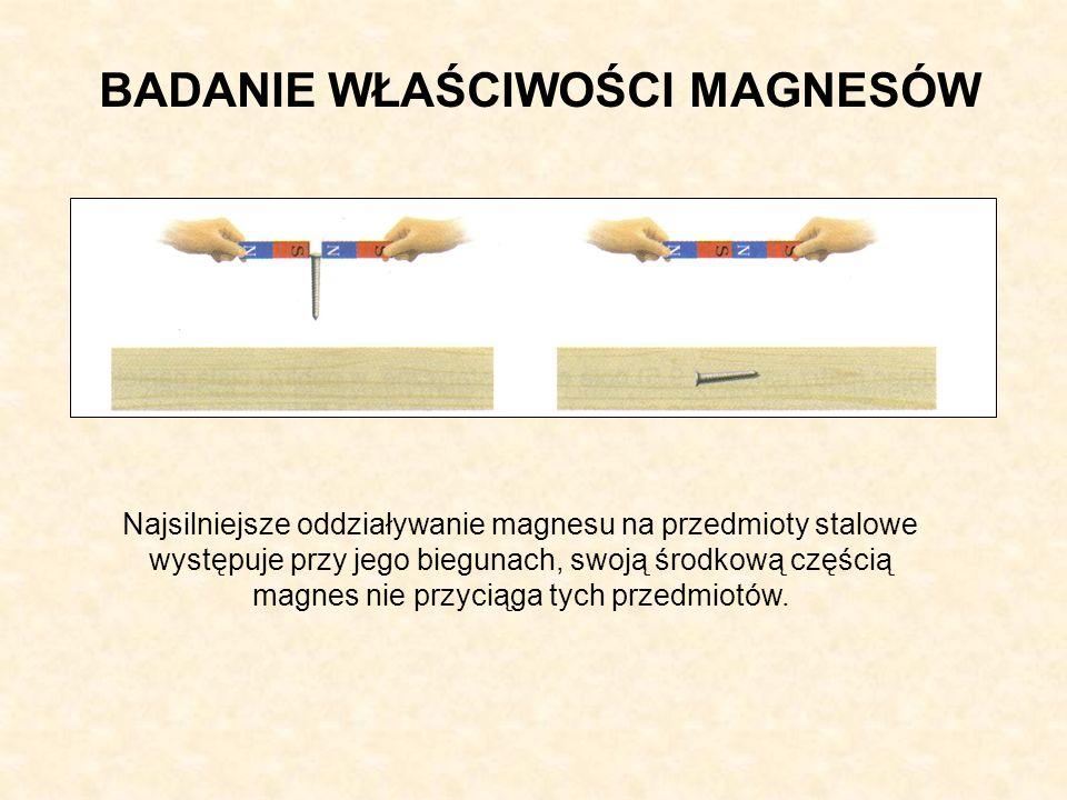 BADANIE WŁAŚCIWOŚCI MAGNESÓW Najsilniejsze oddziaływanie magnesu na przedmioty stalowe występuje przy jego biegunach, swoją środkową częścią magnes nie przyciąga tych przedmiotów.