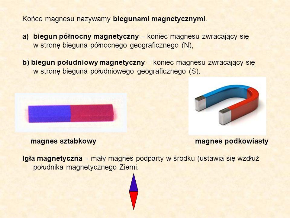 Końce magnesu nazywamy biegunami magnetycznymi.