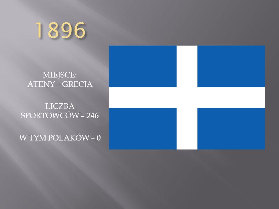 1896 MIEJSCE: ATENY – GRECJA LICZBA SPORTOWCÓW – 246 W TYM POLAKÓW – 0